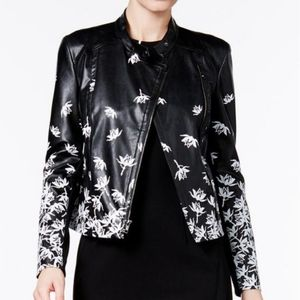 Printed Faux-Leather Moto Jacket